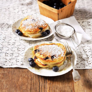 Banana & Blueberry Pancakes with Maple Syrup