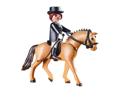 German Sport Horse with Dressage Rider and Stable