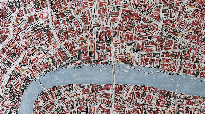 Barbara.brick red London with gold ink and oil on handmade paper 80 x 200 cm_crop