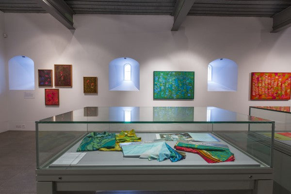 Bernat Klein, A Life in Colour, paintings and fabric samples, Dovecot Gallery, photo credit Stuart Armitt