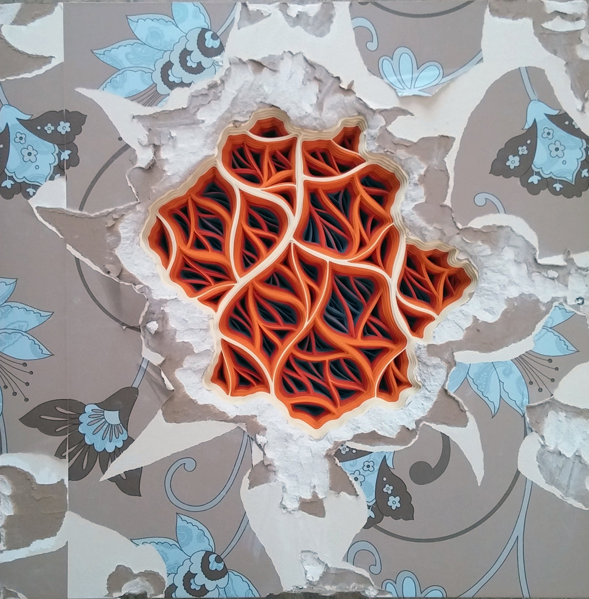 Charles Clary_Flam-a-Pleural Effusion Movement #3 Clary 1_2015_Hand cut paper and wallpaper on distressed drywall_24 x 24 x 4 in_ Photo by Clary