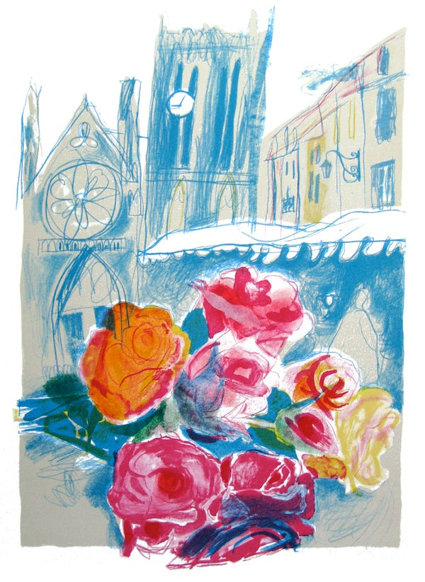 Chloe Cheese, Roses 5 Past. Lithograph. Courtesy the artist, St Jude's and YSP