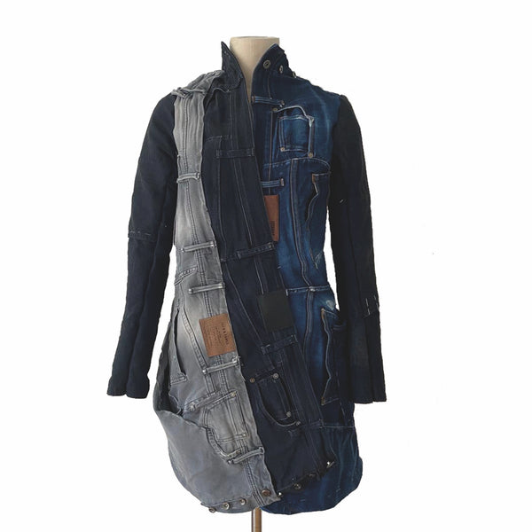 3 Colour Upcycled Denim Coat by Christine Mayer (GERMANY)