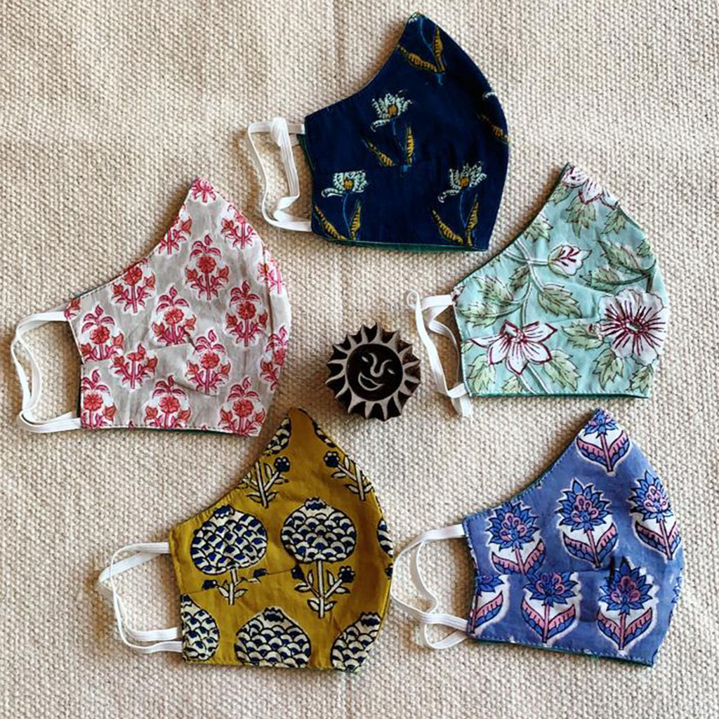 Cotton Face Mask - Hand Block Printed - V Shape - Pack of 5 by Studio Bagru (INDIA)