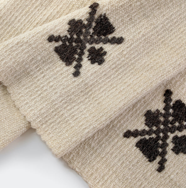 Traditional Three Frame White blanket by Artesanías de Chile Foundation (Chile)