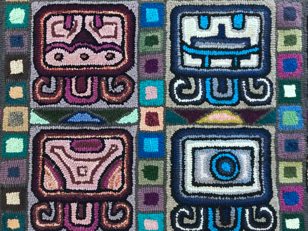 "Guatemala, Multicolores/ Bartola Morales Tol, ""Nahuales Signify Harmony"" Hand-Hooked Rug"