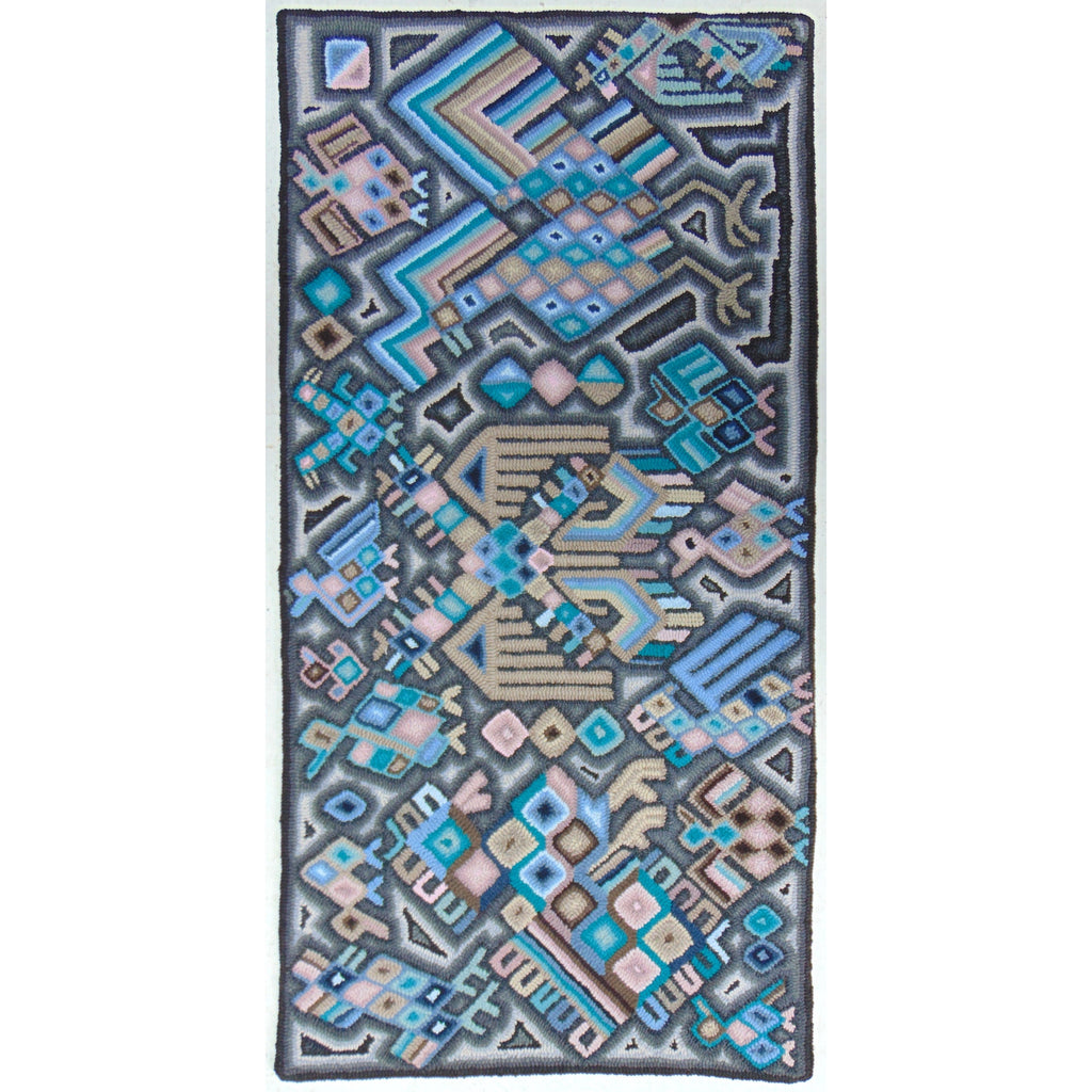 "Guatemala, Multicolores/ Yolanda Churunel Ajú, ""The Two Headed Eagle"" Hand-Hooked Rug"