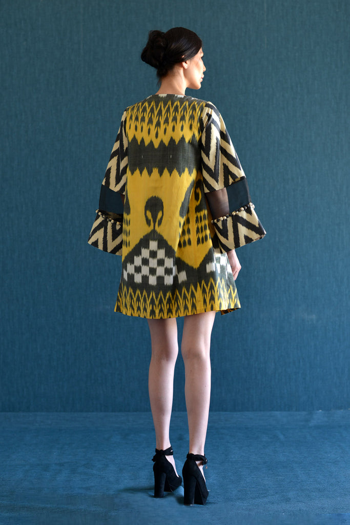 Yellow and Black A-Line Ikat Dress with Decorated Sleeve by Bibi Hanum