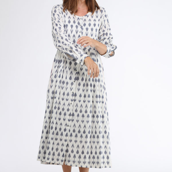 Bloom Pleated Maxi Dress by Translate Handwoven Ikat (INDIA)