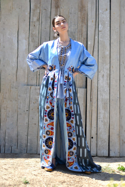 Uzbekistan, Bibi Hanum, India, Blue Bushra One-of-a-kind Suzani Ikat Kaftan