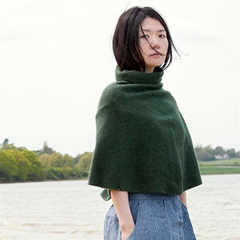 Cecilie Telle, High Neck Poncho, Rosemary - Selvedge Magazine