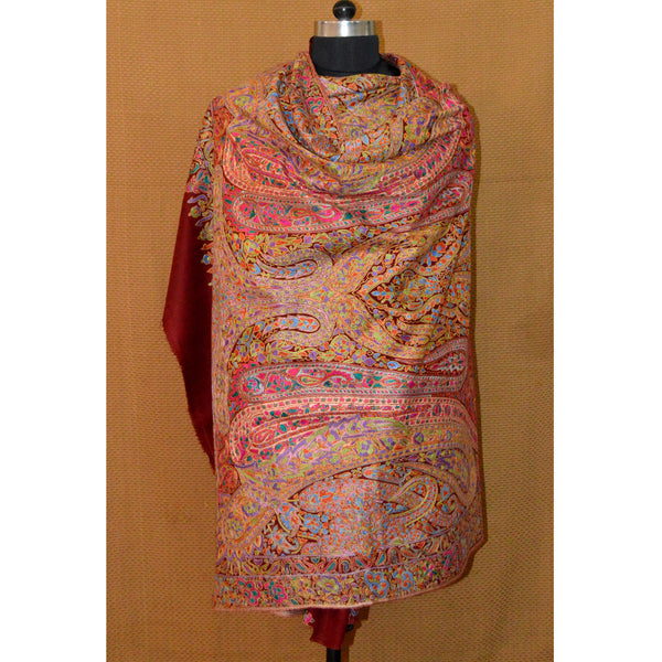 Maroon Allover Papier Mache Jamma Pashmina by AFRA by House Of Mirs (INDIA)