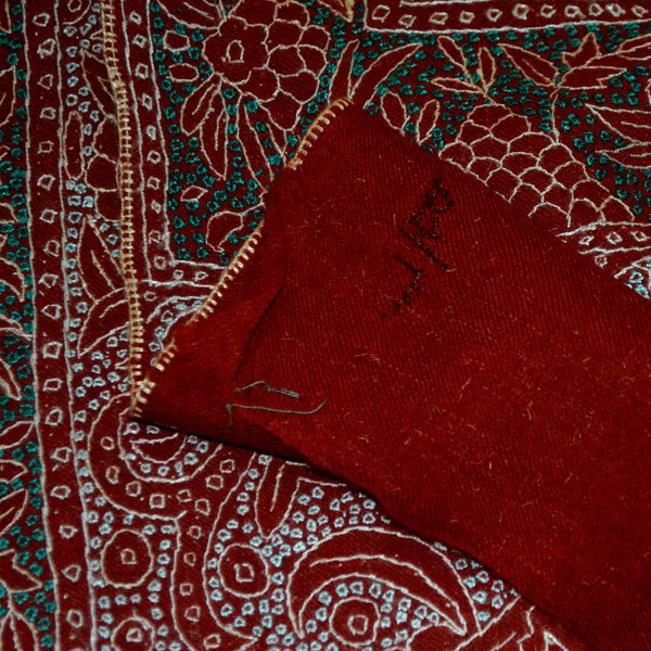 India, AFRA/ House of Mirs, Red Jamma Allover Pashmina