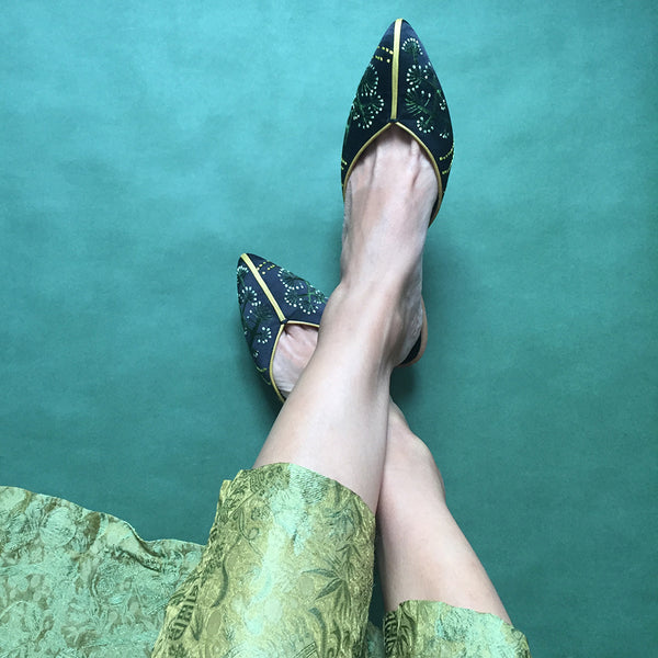China, Dandelion Low Heel Shoes by Suzhou Cobblers