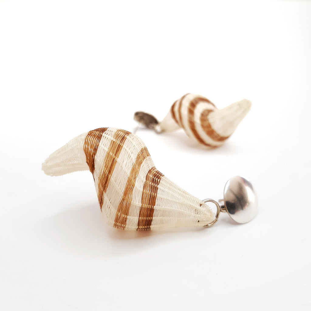 White Snail Earrings by Rita Soto (CHILE)