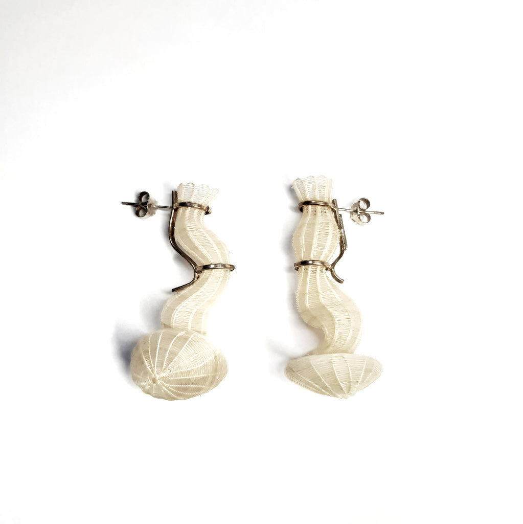 White Folds of Memory Earrings by Rita Soto (Chile)