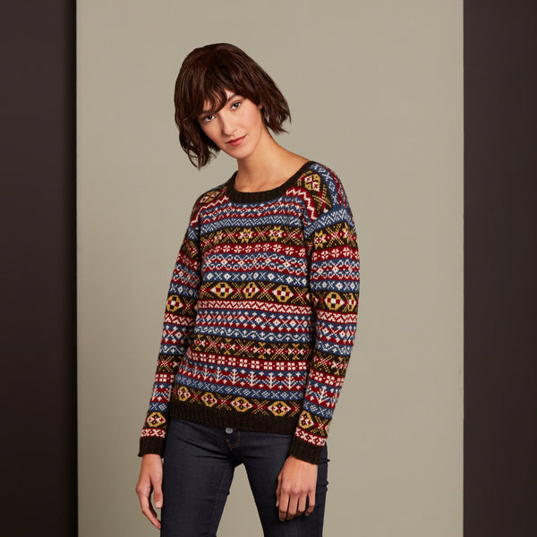 Round Neck Jumper Traditional by Mati Ventrillon, Fair Isle Knitwear (Scotland)