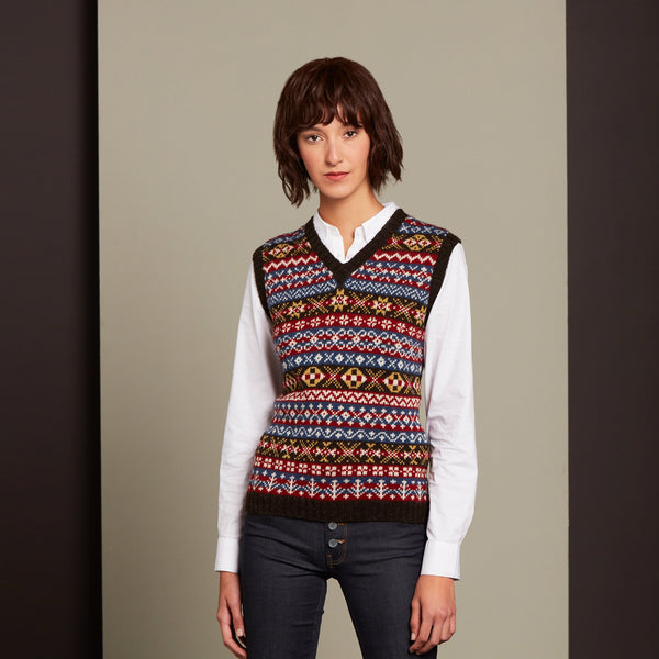 Sleeveless V-Neck Jumper Colourway 1 by Mati Ventrillon, Fair Isle Knitwear (Scotland)