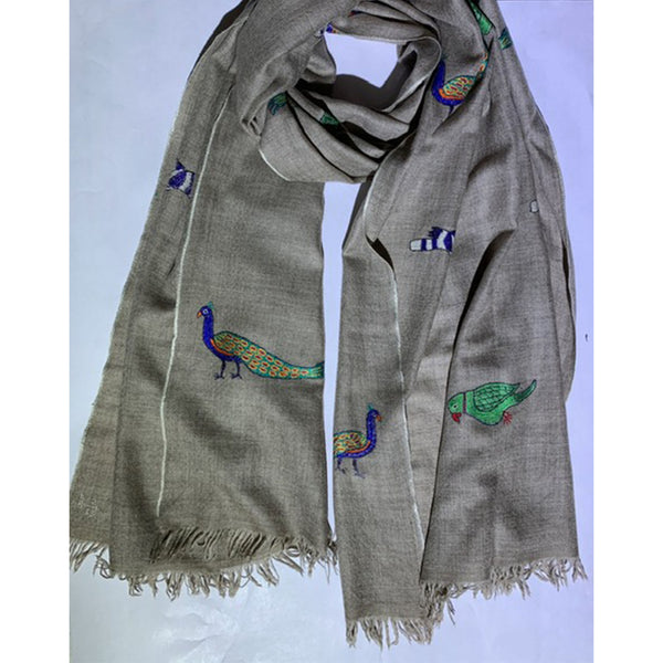 Cashmere Pashmina Scarf with Animal Design by Firdose Ahmed Jan (INDIA)