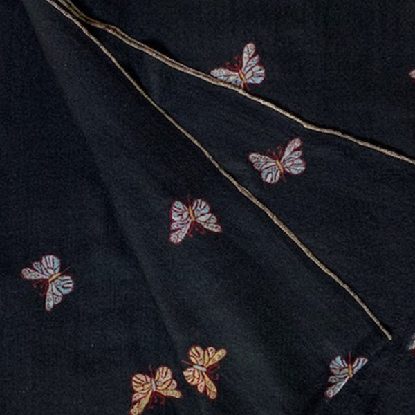Pure cashmere pashmina scarf with butterflies by Firdose Ahmed Jan (INDIA)