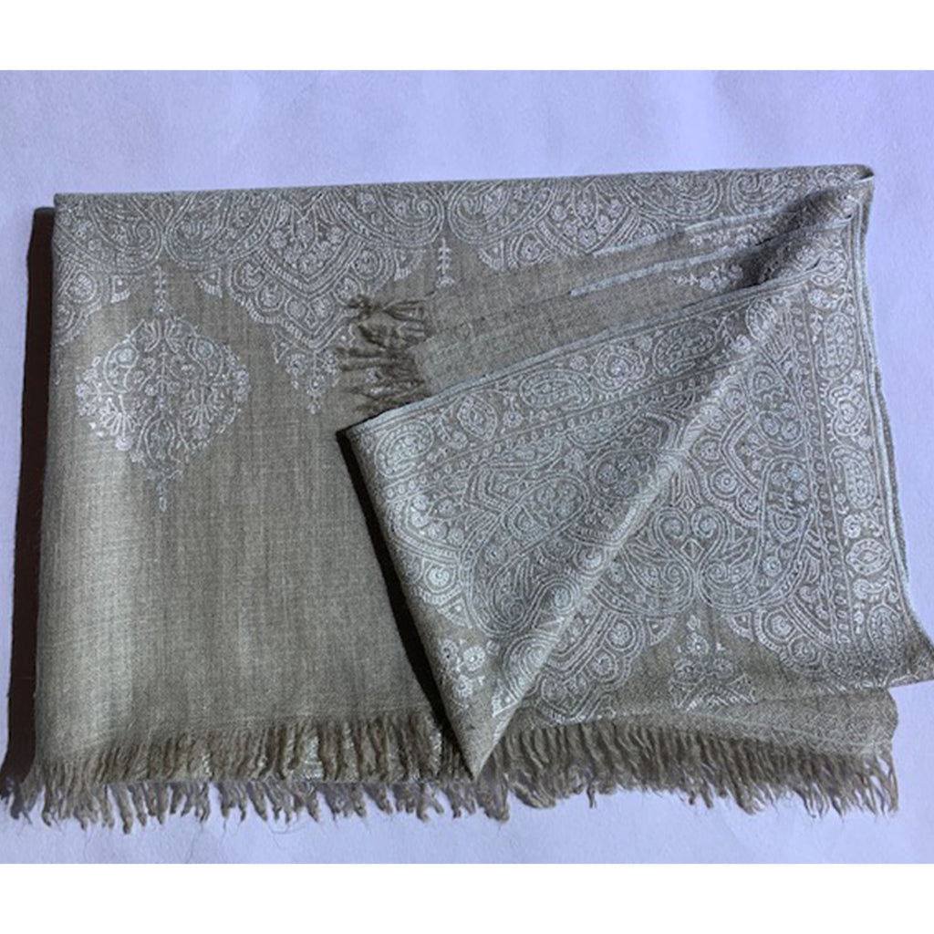Cashmere pashmina scarf with fine hand embroidery by Firdose Ahmed Jan (INDIA)