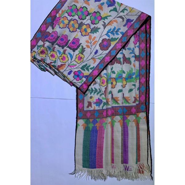 India, Firdose Ahmed Jan, Cashmere Pashmina shawl with hand woven tapestry design