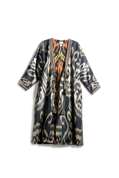 Uzbekistan, Bibi Hanum,  Black, Beige and Red Ikat Chapan / Kaftan with Pleats