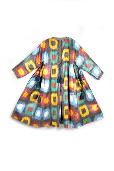 Multicolored dots Ikat Chapan / Kaftan with Pleats by Bibi Hanum
