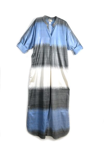 Blue Ikat Kaftan Dress with Fringed Belt by Bibi Hanum