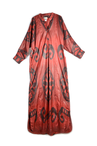 Uzbekistan, Bibi Hanum, Red Ikat Kaftan Dress with Fringed Belt