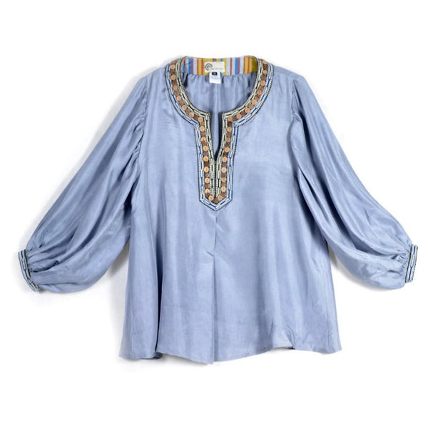 Blue Inbar Silk Top by Bibi Hanum (UZBEKISTAN)