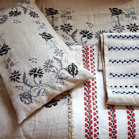 Khadi & Co, Cushion Covers, Embroidered - Selvedge Magazine - 1