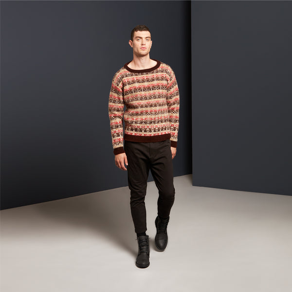 Crewneck Jumper in Brown by Mati Ventrillon, Fair Isle Knitwear (Scotland)