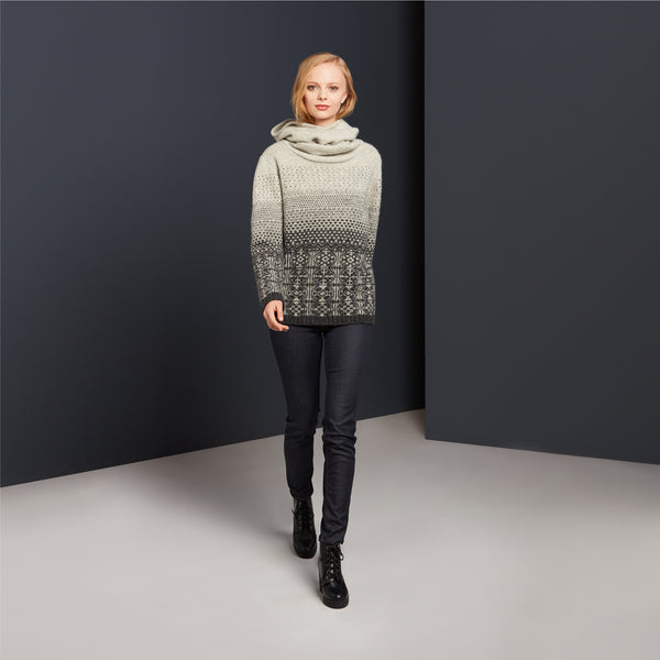 Hooded Jumper in Grey by Mati Ventrillon, Fair Isle Knitwear (Scotland)
