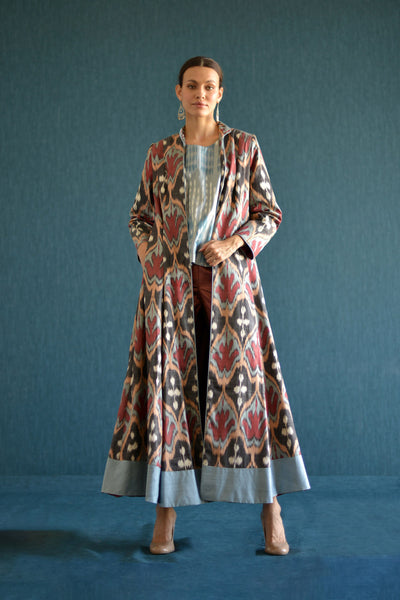 Brown, Yellow and Red Maxi Ikat Wrap Robe with Sash by Bibi Hanum