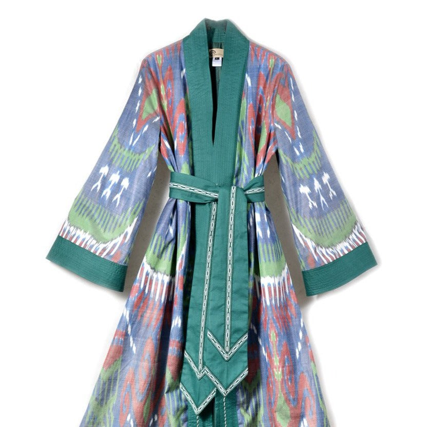 Green Maxi Ikat Wrap Robe with Sash by Bibi Hanum