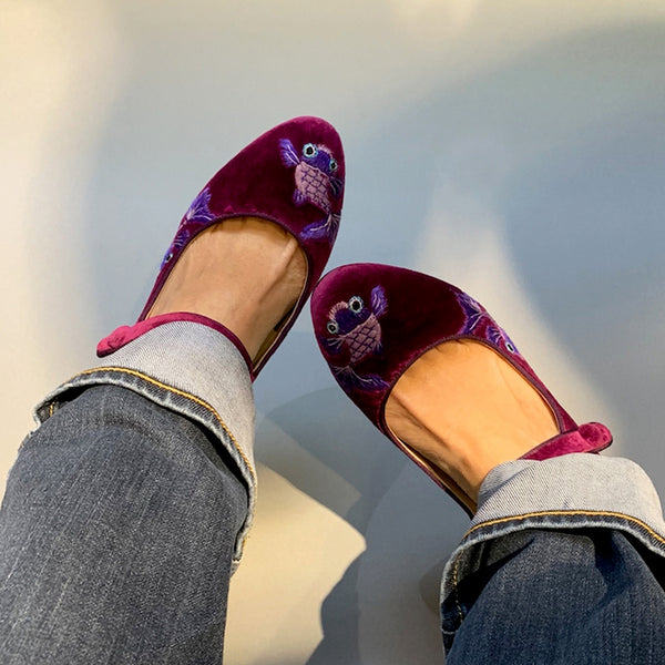 Purple Velvet Heel Shoes by Suzhou Cobblers (China)