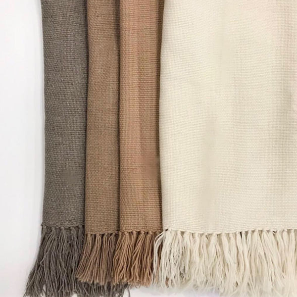 SIMPLE Hand-Loom Throw in Silver Grey by Miguel Fernandez, Maydi (Argentina)