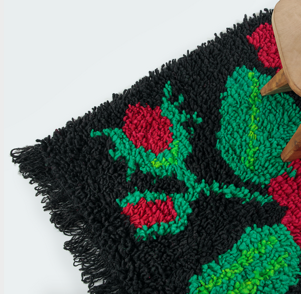 Traditional Wool-Hair Knot Rug (Black with Flowers) by Artesanías de Chile Foundation (Chile)