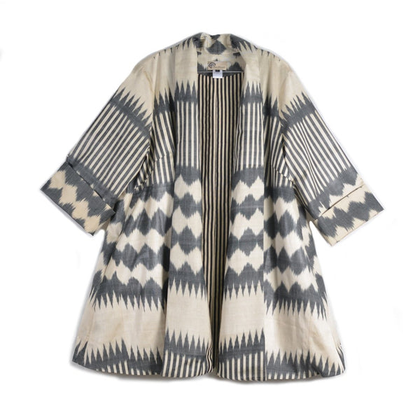 Grey and White Shawl Collar Ikat Jacket by Bibi Hanum