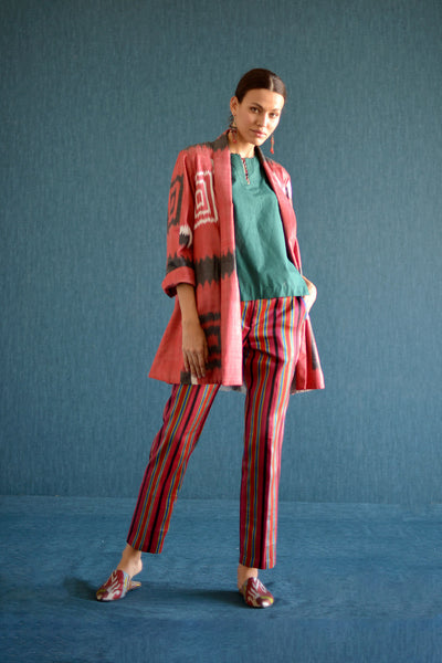 Red Shawl Collar Ikat Jacket by Bibi Hanum