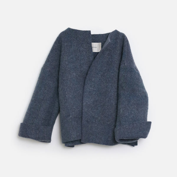 Monochrome Blue Woolen Coat by Unsung Weavers (Greece)