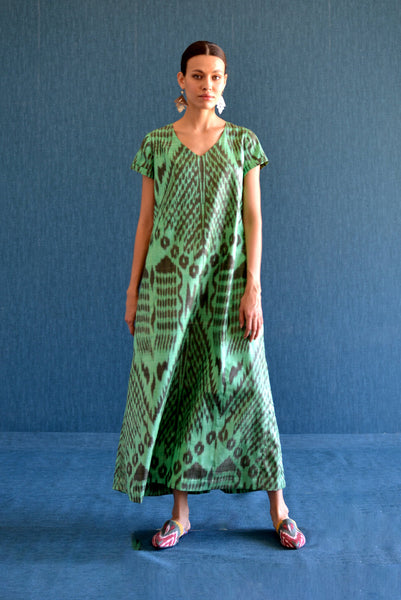 Green V-Neck Ikat Dress by Bibi Hanum
