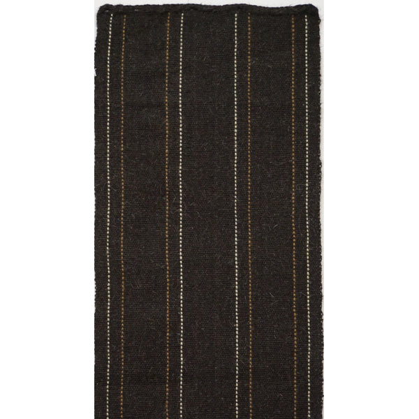 Turkey, Black with White Handwoven Goats Wool Runner by Vedat Demiralp