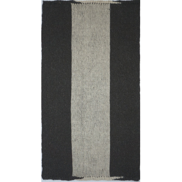 Turkey, Black & White Handwoven Goats Wool Rug by Vedat Demiralp