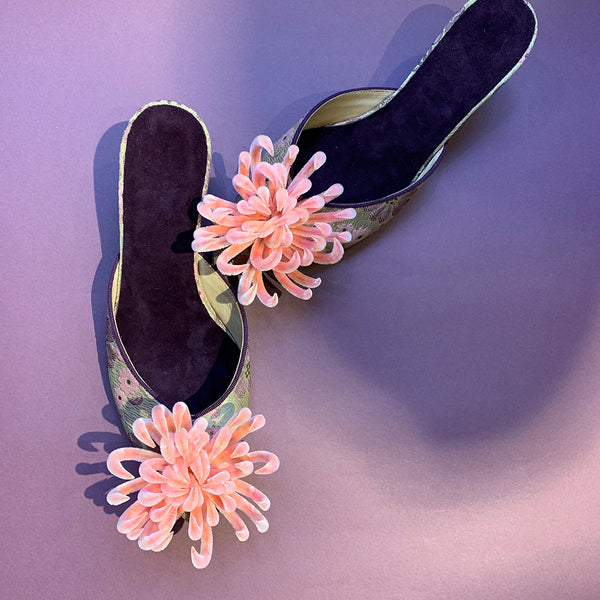 Velvet Flower Low-Heel Shoes by Suzhou Cobblers (China)