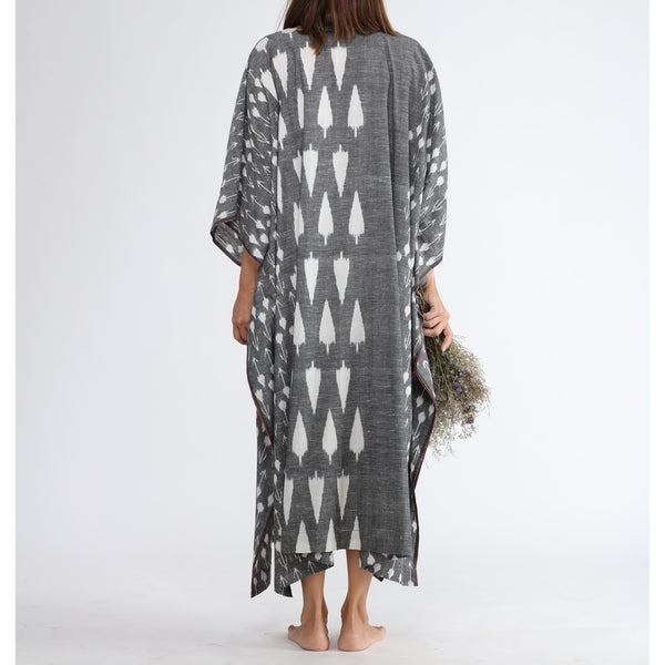 Whisper Long Kaftan by Translate Handwoven Ikat (INDIA)