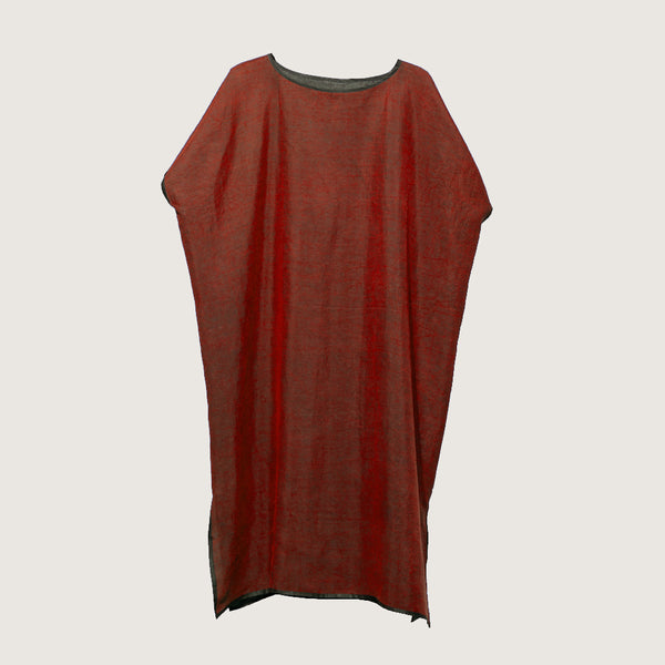 Classic Tunic Red - Colorful Mud Silk by Liang Zhu, Noir Handmade (China)