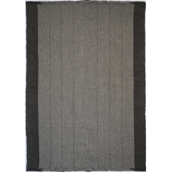 Grey with Black Stripes Handwoven Goats Wool Rug by Vedat Demiralp (Turkey)