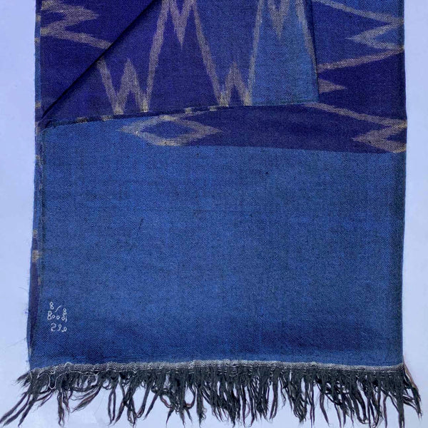 Cashmere pashmina scarf with ikat weaving by Firdose Ahmed Jan (INDIA)